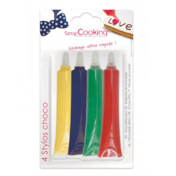 4 Schokoladenstift rot gelb gelb blau Scrapcooking