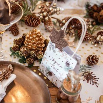 4 Mini WeihnachtsgeschenkBeutel Natur