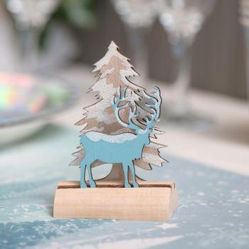 Dekor zum Legen Winter Hirsch Gletscherblau