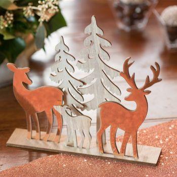 Dekoration Weihnachtswald gold rosa 20cm