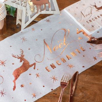 Tischpfad Weihnachten verzaubert gold rosa