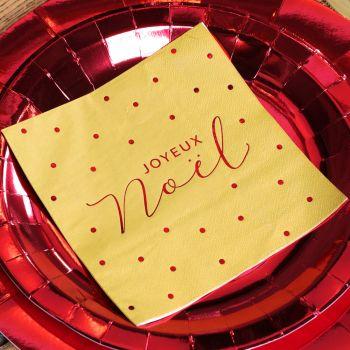 20 Servietten Frohe Weihnachten Goldene und rote Pois