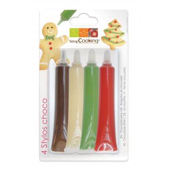 4 Stift Schokolade rot grün weiß Schokolade Scrapcooking