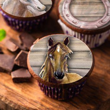 12 Essbare Muffinaufleger Passion Pferd