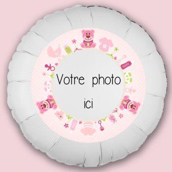 Personalisierte Ballon Dekoration Baby Bär rosa
