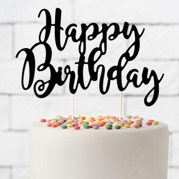 Cake topper Happy Birthday schwarz