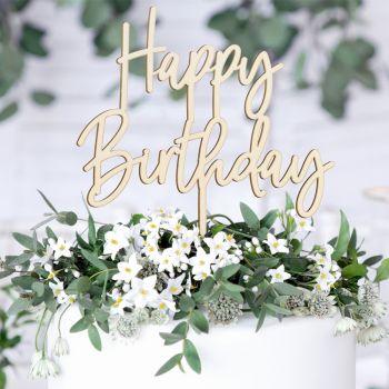 Cake topper Happy Birthday aus Holz