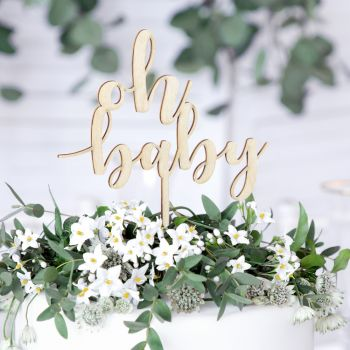Cake topper Oh Baby aus Holz