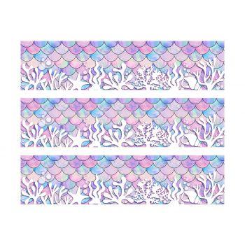 3 Kuchen-Streifen Zucker Dekoration Meerjungfrau Corail