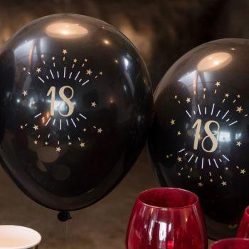 6 luftballon funkeln schwarz gold 18 Jahre