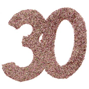 6 Konfetti Riesengold Glitzerrosa 30 Jahre