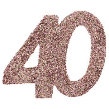 6 Konfetti Riesengold Glitzerrosa 40 Jahre