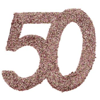 6 Konfetti Riesengold Glitzerrosa 50 Jahre