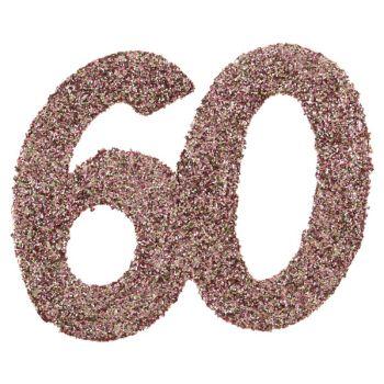 6 Konfetti Riesengold Glitzerrosa 60 Jahre