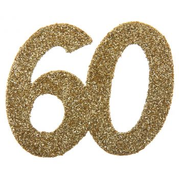 6 Riesige Konfetti Gold Glitzer 60 Jahre
