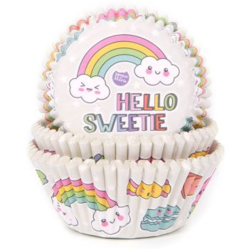 50 Cupcakes backförmchen Rainbow