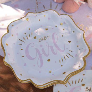 10 Teller Karton Baby Girl gold