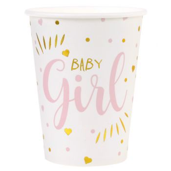 10 Pappbecher Baby Girl gold