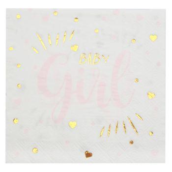 20 Servietten aus Papier Baby Girl gold