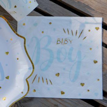 20 Servietten Aus Papier Baby Boy gold