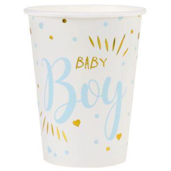 10 Baby Boy Gold Karton Becher