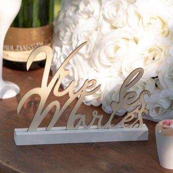 Tischdekor Vive les mariés blanc