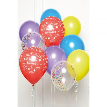 Bündelballons 10 Luftballons Happy Birthday regenbogen