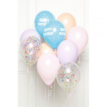 Bündelballons 10 Luftballons Happy Birthday Pastell