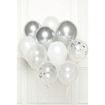 Bündelballons 10 Luftballons herz silber