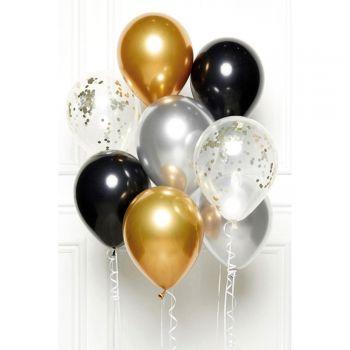 Bündelballons 8 Luftballons schwarz gold silber