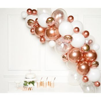 Bogen ballon kit mit 66 luftballons gold und rosa