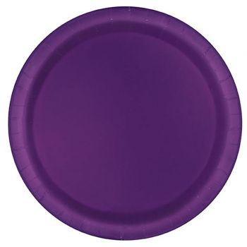16 runde, dunkel violette Karton-Teller