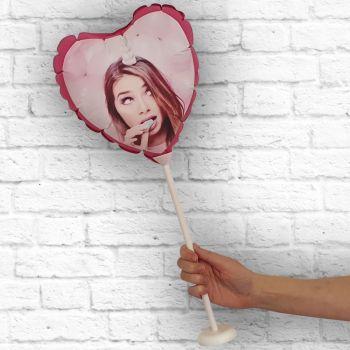Ballon Herz personalisiert Fuschia Rahmen