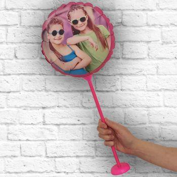 Runde Ballon personalisierte Rahmen fuschia Ø 28 cm