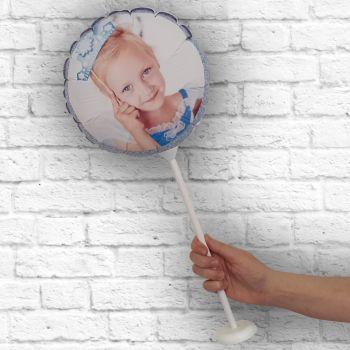 personalisierte Runde Runde Rahmen glitzerblau himmel Ø 28 cm