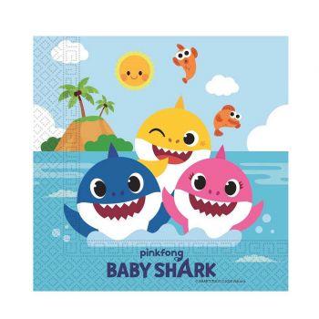 20 Kompostierbare Servietten Baby Shark