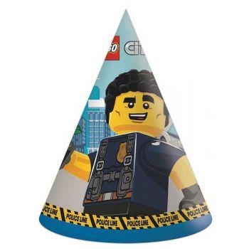 6 Partyhut kompostierbar Lego City