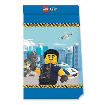 4 Kompostierbare Party-Beutel Lego City