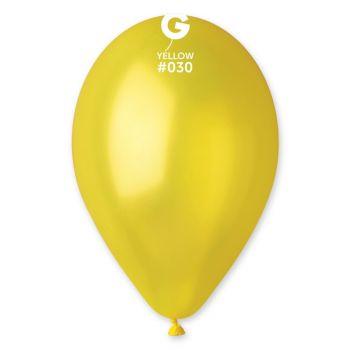 100 Metallic Ballons gelb Ø30cm