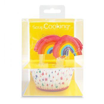 Set 24 Regenbogen-backförmchen Cupcake