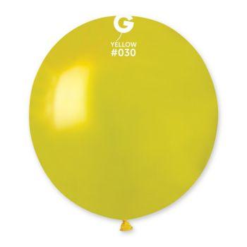 10 Metallic Ballons gelb Ø48cm