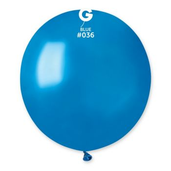10 Metallic Ballons blau Ø48cm