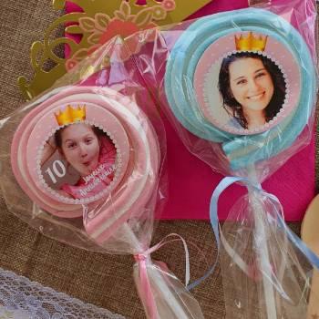 8 personalisierte Prinzessin Marshmallow lollis