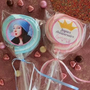 8 personalisierte Marshmallow-lollis Rosa Glitzer