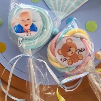 8 personalisierte Marshmallow-lollis Babyblau