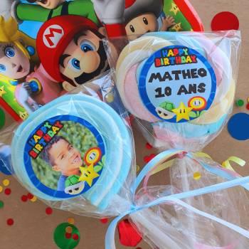 8 personalisierte Marshmallow-lollis Mario