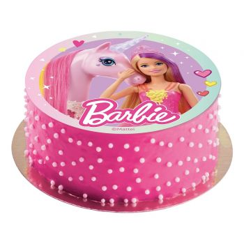 Tortenaufleger dekor Barbie Einhorn 20cm