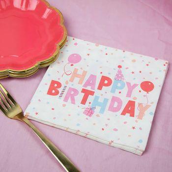 20 Servietten Papier Ecolo pastell birthday
