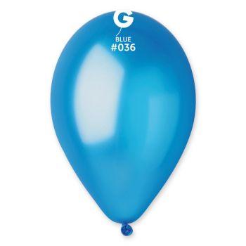 50 Metallic Luftballon blau Ø30cm