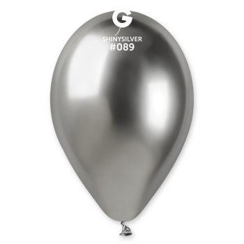 5 Shiny Silber silber glänzende Ballons Ø30cm
